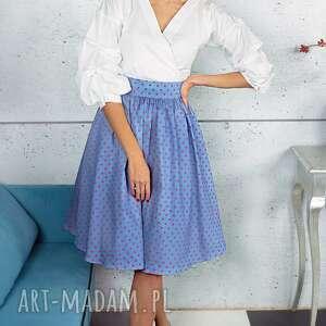 spódnice niebieska spódnica w groszki, midi, kieszenie, tiul, rozkloszowana