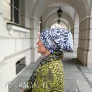 ruda klara czapka damska niebieska wzorzysta styl boho, czapka, etno, turban
