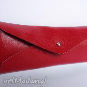 artmanual piórnik skórzany czerwona koperta, skóra, piórnik, etui