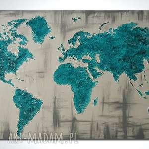 obraz 152x84cm - MAPA ŚWIATA 3D 06 ręcznie malowana, obraz, mapa,