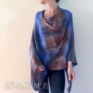 ciepłe wełniane ręcznie barwione ponczo, sweter, narzutka, wełna