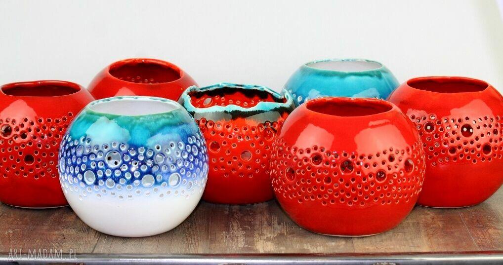 ceramika ażur lampion ball czerwony