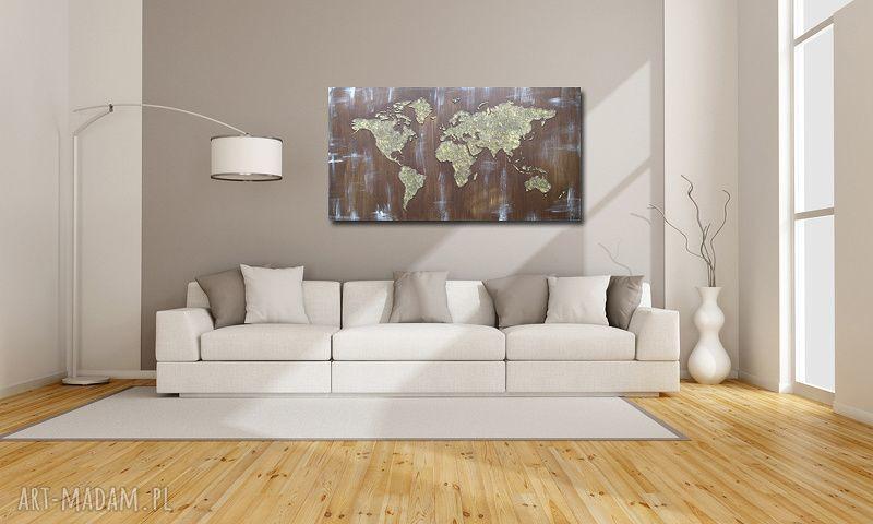 ręcznie robione obrazy obraz ręcznie malowany mapa świata 3d - 17 -152x84cm