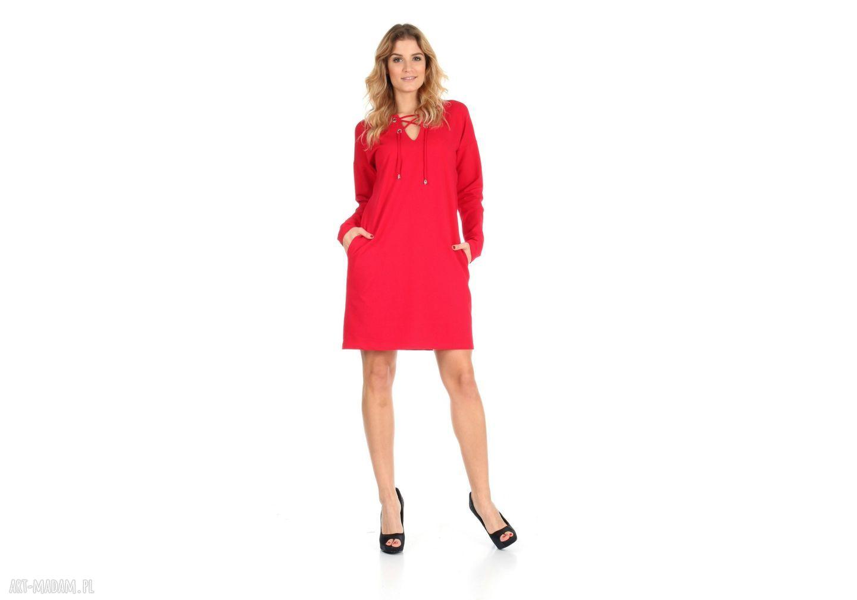 ręcznie zrobione sukienki 46-sukienka sznurowany dekolt, czerwona, rękaw długi
