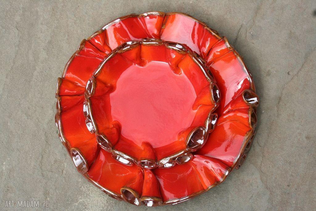 ceramika szkliwione patery twist czerwono-złote