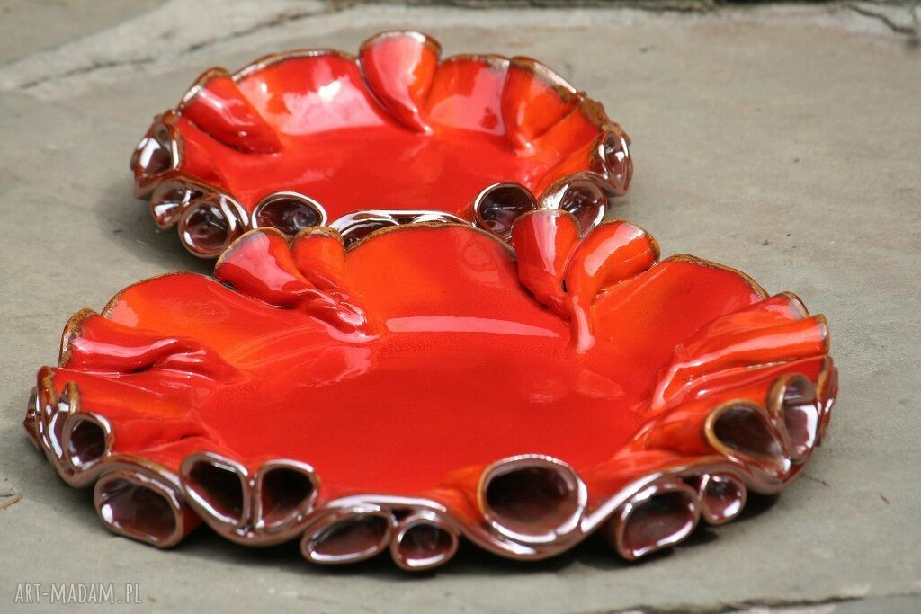 patera ceramika czerwone patery twist czerwono-złote