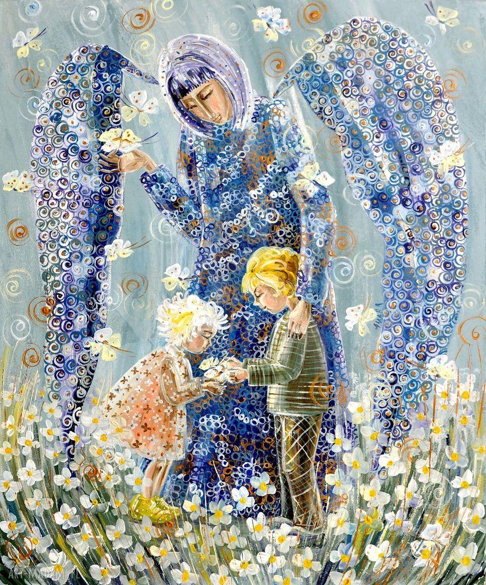 handmade obrazy anioł stróż dzieci 100x80cm