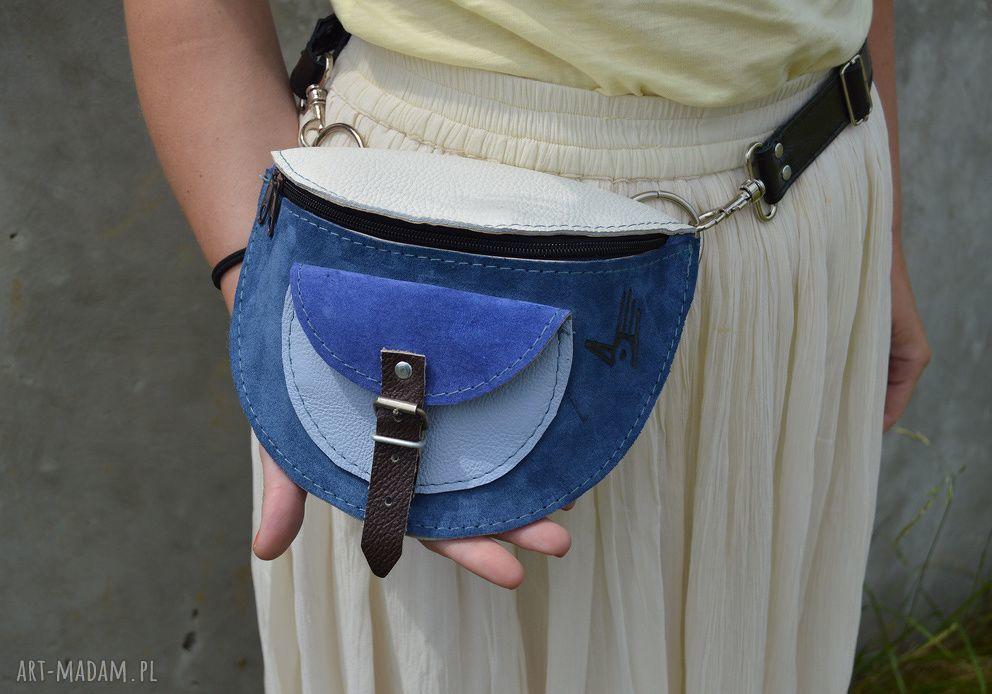 handmade nerki nerka zamsz lico biało-niebieska