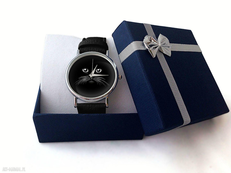 szare zegarki skórzany koci pyszczek - zegarek