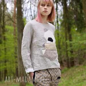 Bluza lniana z Misiem, miś, len, podwóna, patchwork