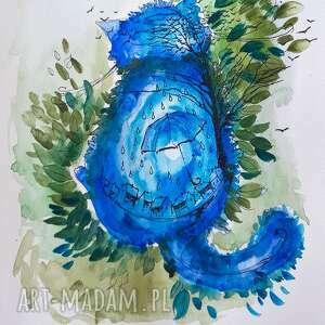 kot deszczowy akwarela artystki adriany laube - obraz na papierze a3