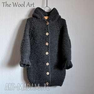długi sweter z kapturem, sweter, wełniany, nadrutach, dziecinny, sweterek
