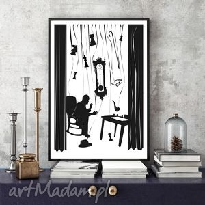 grafika czas 100x70 cm, plakat, b1, 100x70, czarnobiałe, ilustracja dom