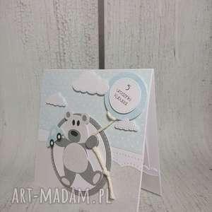 Zaproszenie / kartka misiu z autkiem, urodziny, chrzest, narodziny, roczek, autko,