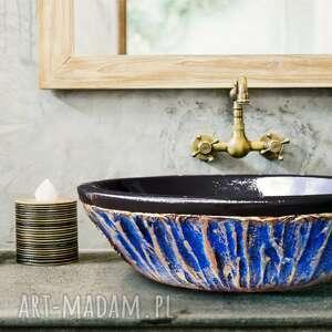 ceramika blue lagon - artystyczna umywalka nablatowa ze złotą strukturą, modna