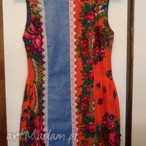 folk design sukienka pomarańczowa, folk, design, góralska, jeans, ubrania