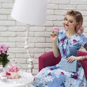sukienka chloe ii midi bonita, wiązanie, kokarda, midi, kieszenie, rozkloszowana