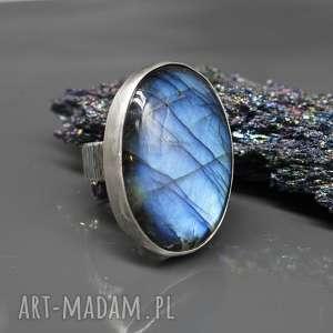 duży, surowy labradoryt - pierścionek iverin, srebrny, srebro