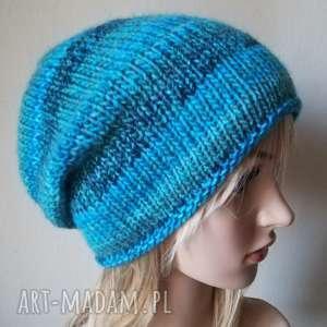 ręcznie zrobione czapki zima w turkusach czapka