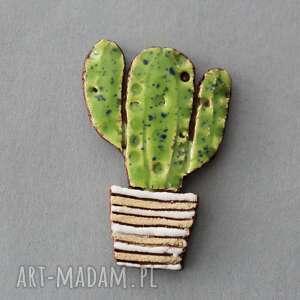 handmade prezenty na święta ooo kaktus-broszka ceramiczna