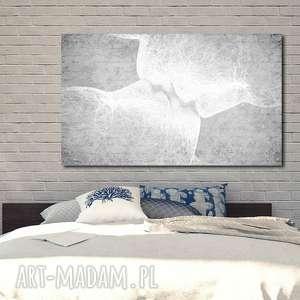 obraz xxl twarze 4 -120x70cm design na płótnie pocałunek szary miłość