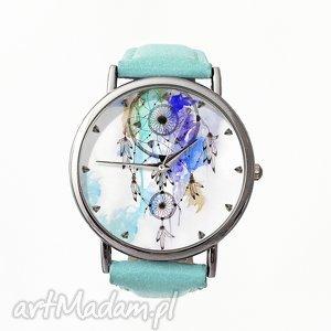 Łapacz snów - Skórzany zegarek z dużą tarczą - ,łapacz,snów,dreamcatcher,zegarek,pióra,