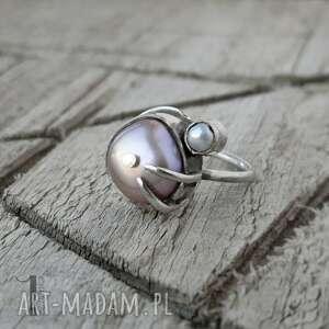 wild pearl - double pink srebrny pierścionek z perłami - słodkowodna perła