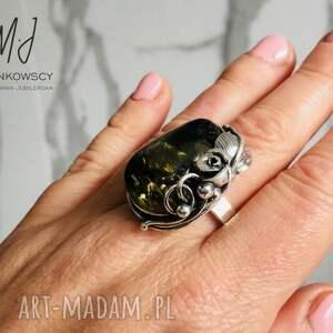 unikatowy srebrny 925 pierścionek z bursztynem rękodzieło, biżuteria artystyczna