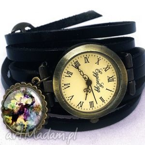 kolorowa fantazja - zegarek bransoletka na skórzanym pasku - skórzana