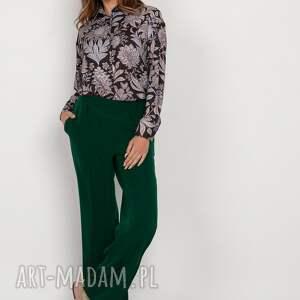 szerokie spodnie z płaskim przodem - sd124 zielony, spodnie
