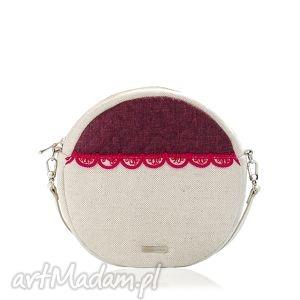 torebka pikowana okrągła veska 597, veska, len, okrąg, falbanka