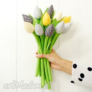 tulipany - bawełniane kwiaty, tulipany, bawełniane, szyte, z