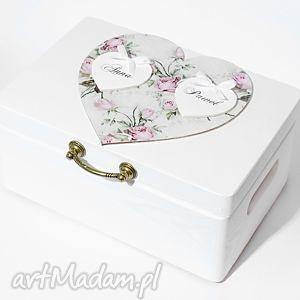 Ślubne pudełko na koperty Kopertówka Personalizowane Vintage Serce, pudełkonakoperty