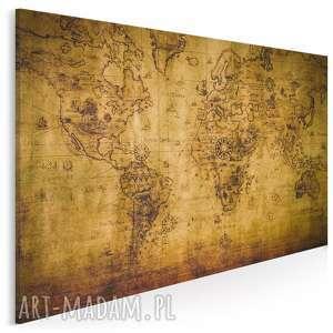 obraz na płótnie - mapa stara 120x80 cm 13701, mapa, kontynenty, stary