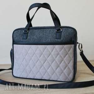 torba miejska - tkanina antracyt i przednia część beżowa, elegancka, nowoczesna