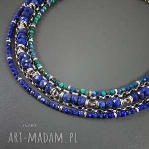 hand-made naszyjniki bogaty naszyjnik z lapis lazuli i chryzokoli