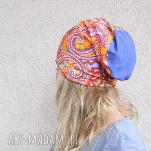czapka dresowa sportowa w orientalne wzory, etno, dzianina, orient, boho,