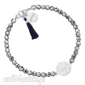 sotho srebrna bransoletka z fasetowanego hematytu z rozetką kobieca