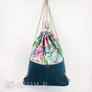worek plecak w kaktusy z welurem morskim 45cm, worek, kaktus, workoplecak