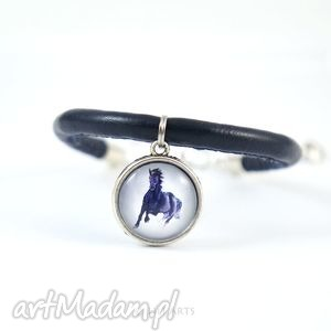 ręcznie zrobione bransoletki bransoletka - czarny koń - ciemno-granatowa