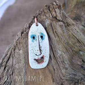 wisior emaliowany z miedzi twarz, emalia, miedź, art, face, malowanie
