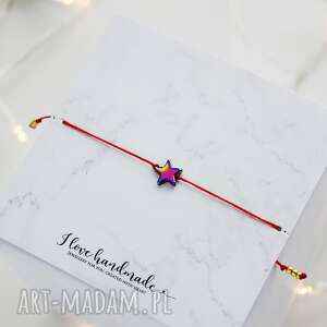 bransoletka czerwony sznureczek z gwiazdką hematytu