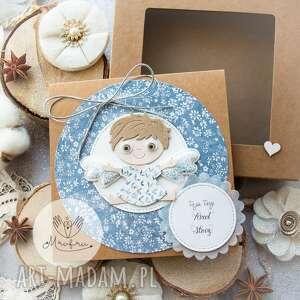 ręcznie wykonane scrapbooking kartki personalizowana kartka z aniołkiem stróżem