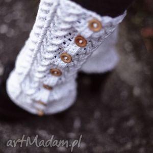 buty podkolanówki z drewnianymi guzikami, podkolanówki, buty, półbuty, bawełna
