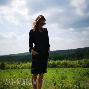 sukienki kimono umi noiro kolor czarny, małaczarna, sukienka, płaszcz