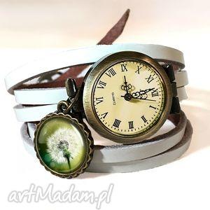 dmuchawiec - zegarek bransoletka na skórzanym pasku - biżuteria