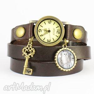 hand-made bransoletka, zegarek - biała sowa brązowy, skórzany