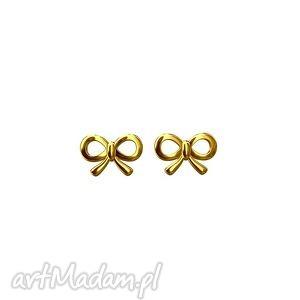 złote kolczyki kokardki - wkrętki, kokardy, sztyfty