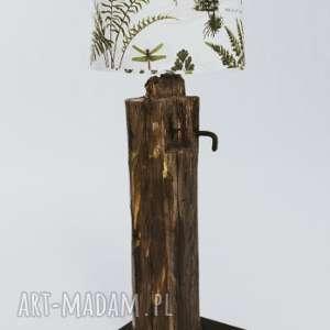 Lampa podłogowa ze starej krokwi, lampa-podłogowa, recykling, liście-paproci