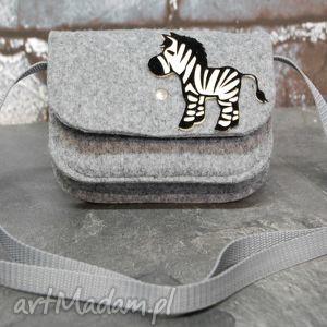 torebka dla małej damy z zebrą, filc, zebra, handmade, dziecko, dziewczynki